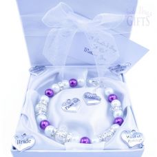 Custom Made Bridesmaid Wedding Bracelet - Choice of Charms & Colour